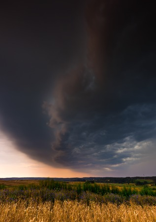 Storm clouds over wheat field. Danger weather with dark sky over fields Stock Photo