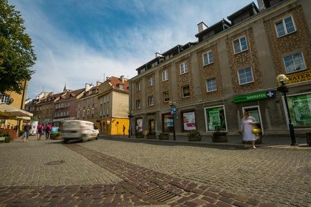 OLSZTYN, POLAND - AUGUST 21, 2015:  Old houses of Olsztyn in center of Olsztyn old town