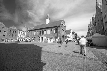 warmia: OLSZTYN, POLAND - AUGUST 21, 2015:  Old houses of Olsztyn in center of Olsztyn old town
