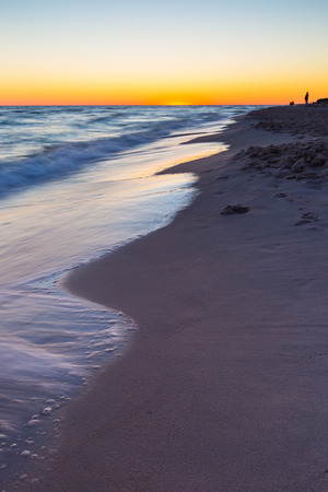 beach landscape: Beautiful sunset over Baltic sea. Summer landscape of polish sea beach.