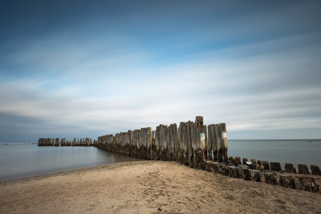 Babie: Beach with old military buildings from World War II. Poland, Babie Doly.