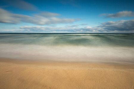 beach panorama: Beautiful seascape of Baltic Sea shore in Poland. Beautiful place for a walk
