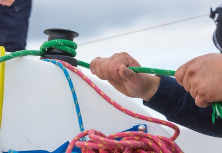hand crank: Close up of yacht equipment. Part of yacht with ropes and capstan Stock Photo