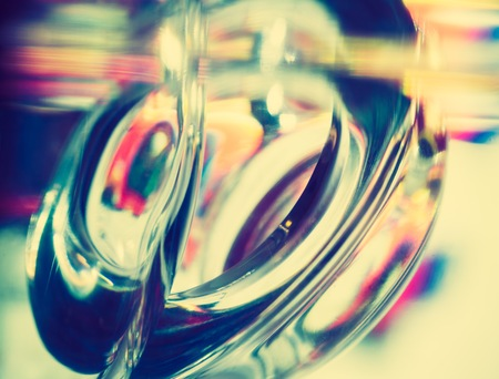 opalescent: Vintage photo of thick glass abstraction made with glass vase and glass on shallow depth of field. Stock Photo