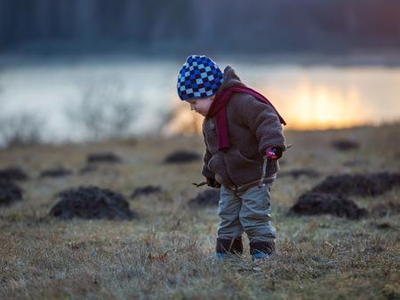 molehill: Little boy playing outdoor near forest. Beautiful child photo with golden light.
