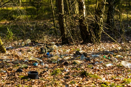 not a problem: Illegal garbage in spring forest. Ecologic problem in not developed countries. Stock Photo