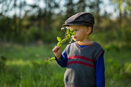 cherry branch: Happy caucasian boy playing outdoor at warm springtime day, boy holding blooming cherry branch