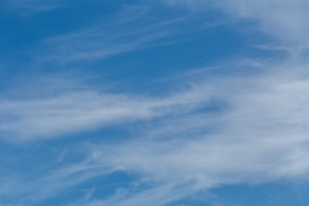 cirrus: Blue sky with bright cirrus clouds. Natural summer sky background Stock Photo