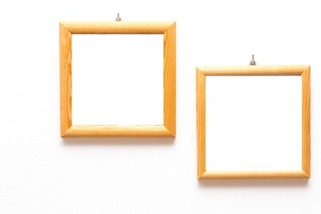 2 Old Wooden Frames Of Pine Wood Hanging On White Wall Background ...