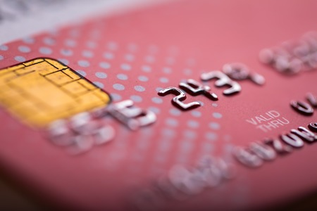 Credit card in close up. Abstract photo of bank card with shallow depth of field Stock Photo