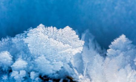 snowdrifts: Snow crystals in big close up. Natural snow macro. Stock Photo