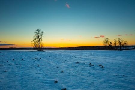 snowy field: Beautiful winter landscape. Sunset over winter snow fields. Polish landscape.