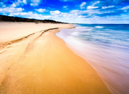 Beautiful Baltic shore in spring. Colorful seascape of polish sea.