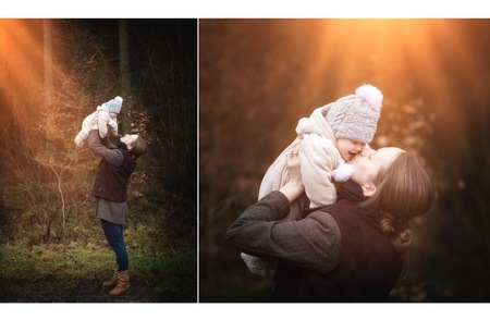 Beautiful baby girl with her mother in forest. Outdoor portriat of mother and newborn child. Zdjęcie Seryjne