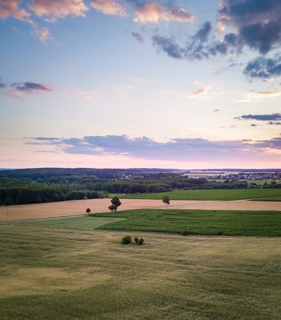 Aerial landscape with beautiful summer fields. Summer drone field landscape. European fields. 스톡 콘텐츠