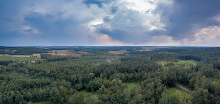 Flight over forest under cloudy sky. Drone photography, polish landscape