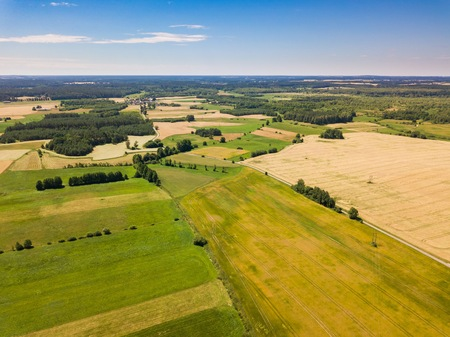 Aerial landscape with beautiful summer fields. Summer drone field landscape. European fields. Stock Photo