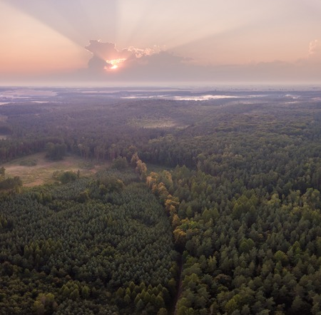 Beautiful misty evening landscape photographed from drone. Magical atmosphere.