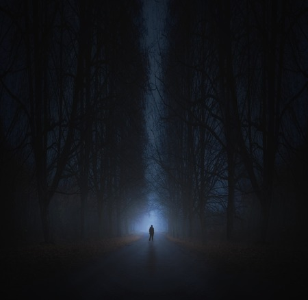 Surreal horror scene with alone strange man in dark night forest. Dreamy landscape. Stockfoto