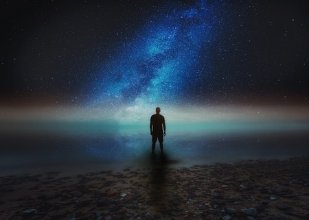 Surreal night landscape with starry sky. Dreamy look. Imagens