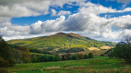 Bieszczady mountains in Poland. Autumn mountain landscape.