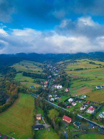 Beautiful Bieszczady mountains and village view photographed from drone. Aerial photography.