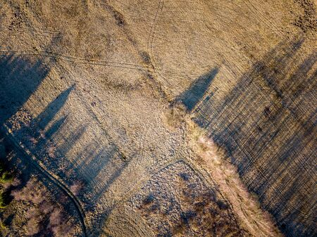 Drone landscape with autumnal fields. Nature from above