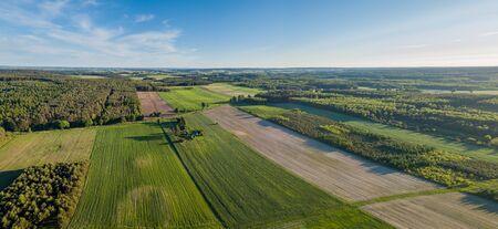 Beautiful fields from drone. Aerial landscape with fields. Zdjęcie Seryjne