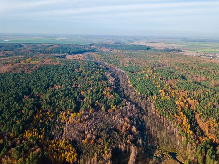 Beautiful autumn landscape photographed from drone. Aerial landscape photography