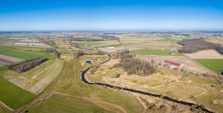 Early spring aerial landscape with fields of Poland. Typical polish landscape photographed from above.