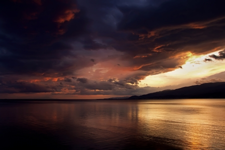 A sunset after rain at Akcay/Turkey in 2010  (1) Stock Photo - 14212871