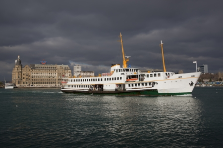 An Istanbul Ship and Haydarpasa Station in Istanbul Turkey photo