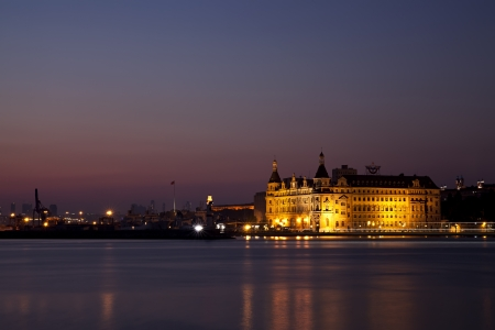 haydarpasa: Haydarpasa Station at night time at IstanbulTurkey which is a famous historical train station in Kadikoy
