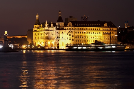 Haydarpasa Station at night time at IstanbulTurkey which is a famous historical train station in Kadikoy