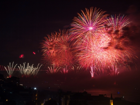 The Celebration of Turkish Republic Day with Fireworks show in Istanbul at October 29th,2013 photo