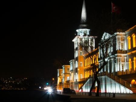 night school: Kuleli Military High School at night  This is a famous historic school building near the Bosphorus coast at Istanbul,Turkey