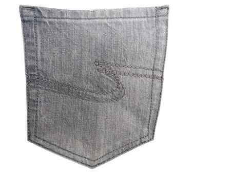Jeans back pocket, isolated on white