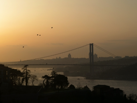 Bosphorus Bridge at the sunset photo