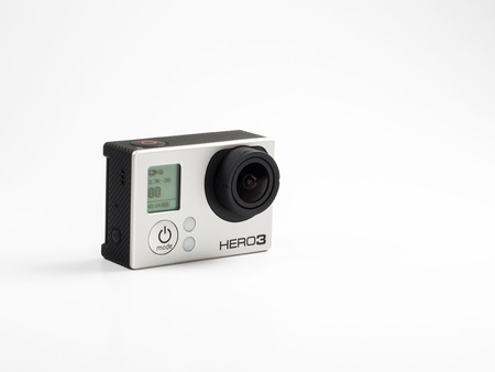 Istanbul, Turkey - January 17, 2014  Close-up studio shot of a GoPro HERO3 black edition camera with Rechargeable Battery and cover