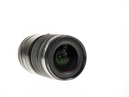 Istanbul, Turkey - January 29, 2014  Olympus M Zuiko Digital 12-50mm lens isolated on white background