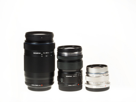 olympus: Istanbul, Turkey - January 29, 2014  Olympus Micro 4-3 lenses are isolated on white background