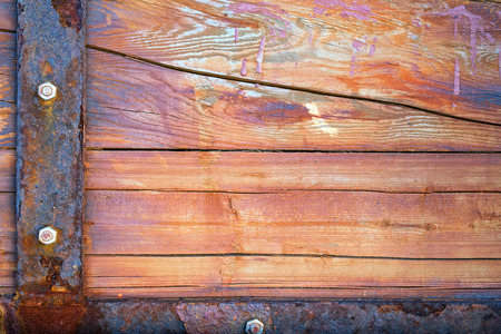 Old Wood Background with Rusty Iron - Vignette photo