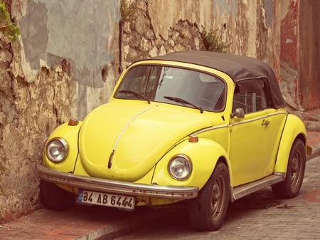 Convertible Yellow VW Beetle - Vintage Tones