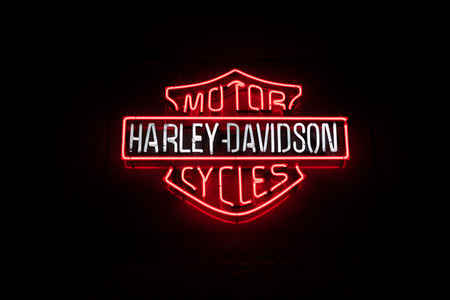 Istanbul, Turkey - February 22, 2015: Neon Harley Davidson Sign