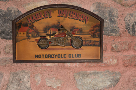 harley davidson motorcycle: Istanbul, Turkey - February 22, 2015: Antique Wood Harley Davidson Motorcycle Club Sign