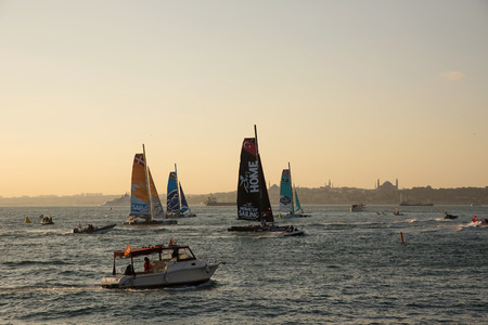 kadikoy: ISTANBUL, TURKEY - OCTOBER 03, 2015: Extreme 40 Stadium Racing . Extreme 40 Sailboats compete in Extreme Sailing Series at Istanbul. Editorial