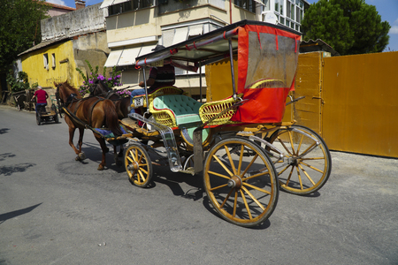horse cart: Istanbul, Turkey - August 28, 2016: Colorful horse carriage with brown horses and horse cart driver at street of The Saddlebag Island. There is a biker with buildings too. Editorial