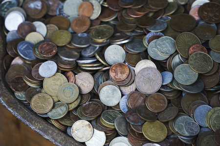 collectivity: Coins from all over the world in an antique store