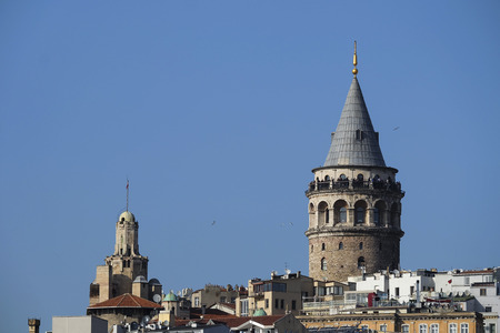 The Galata Tower at Istanbul with blue clear sky