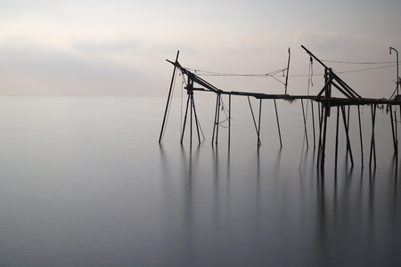 peace pipe: A traditional pier known as Dalyan, as Turkish at Tekirdag, Turkey for old method fishing.
